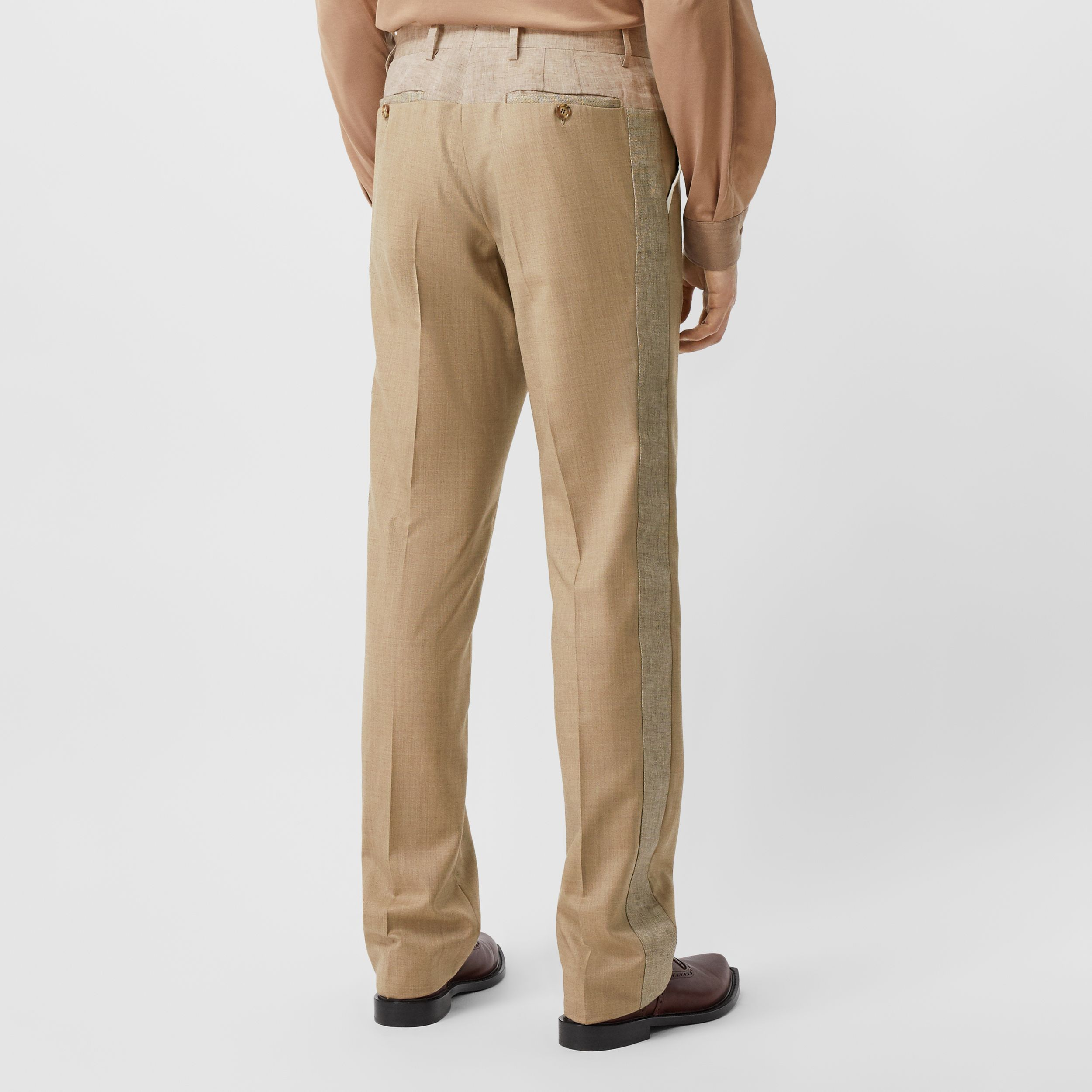 English Fit Wool Cashmere and Linen Tailored Trousers in Pecan Melange - Men | Burberry - 3