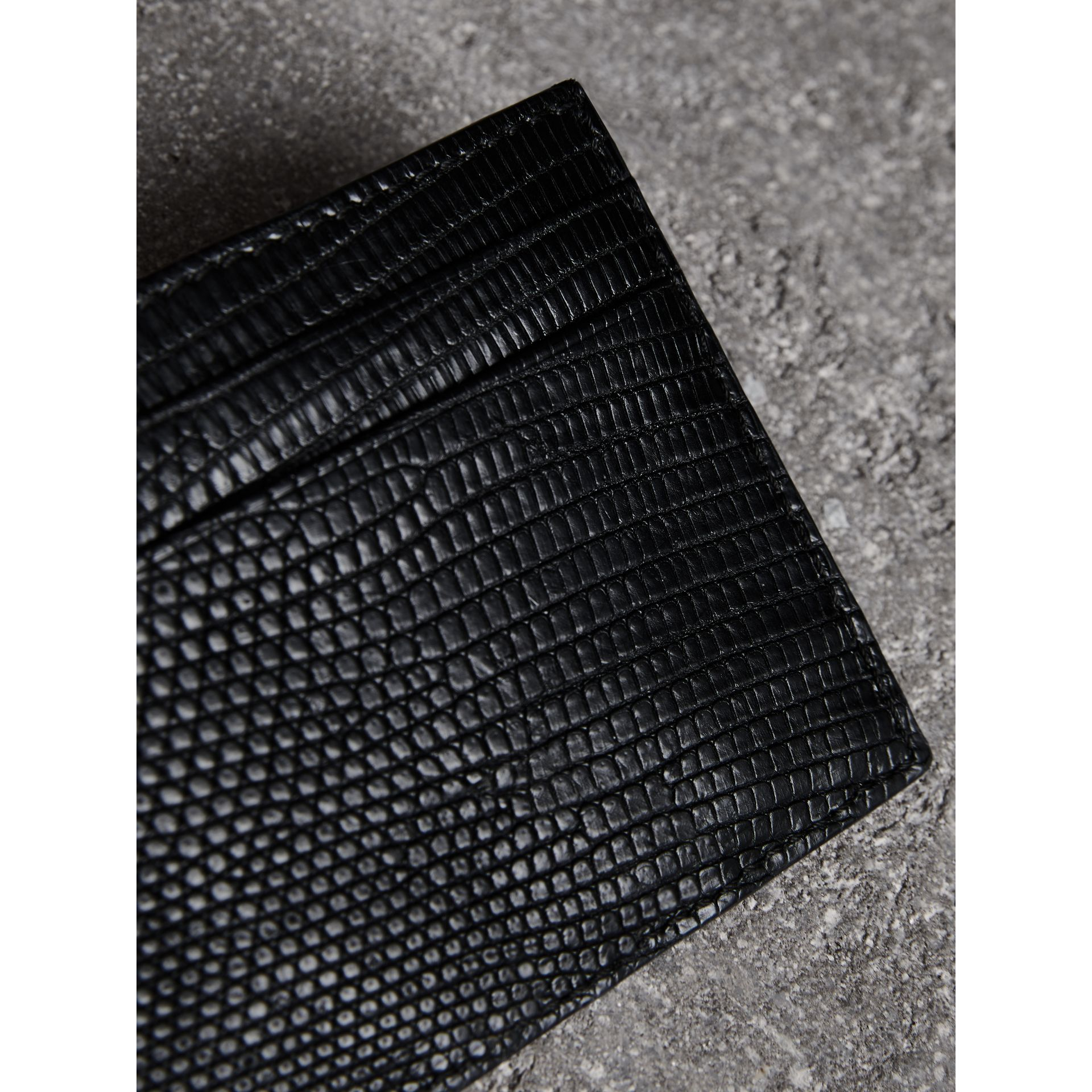 Lizard Card Case in Black | Burberry - gallery image 1