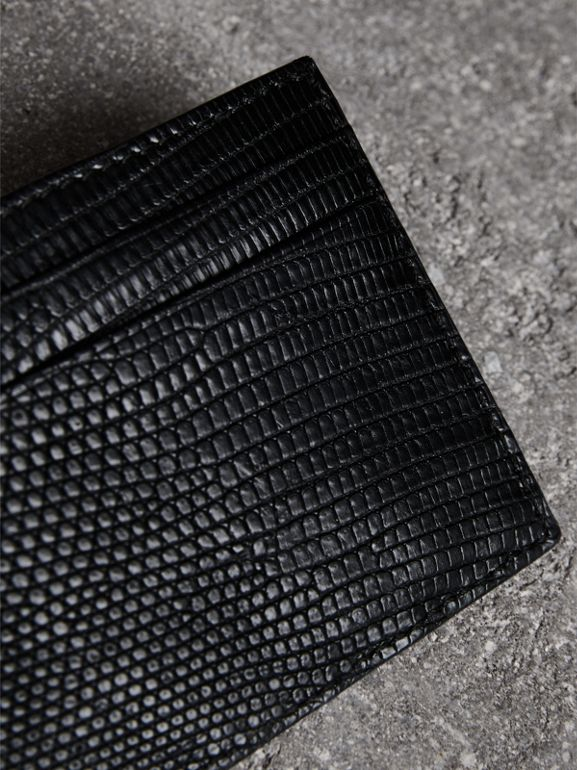 Lizard Card Case in Black | Burberry - cell image 1