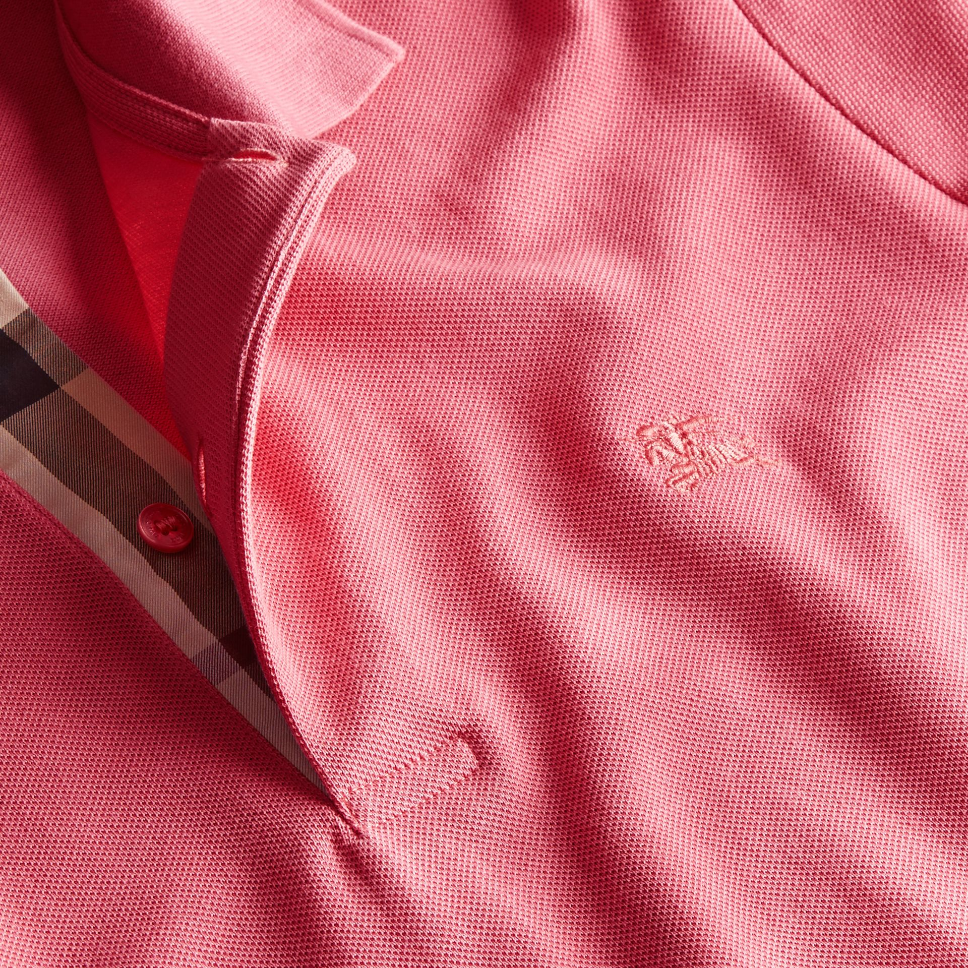 Check Placket Cotton Piqué Polo Shirt Rose Pink - gallery image 2