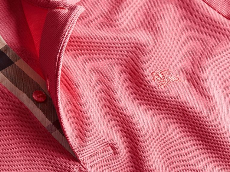 Check Placket Cotton Piqué Polo Shirt in Rose Pink - cell image 1