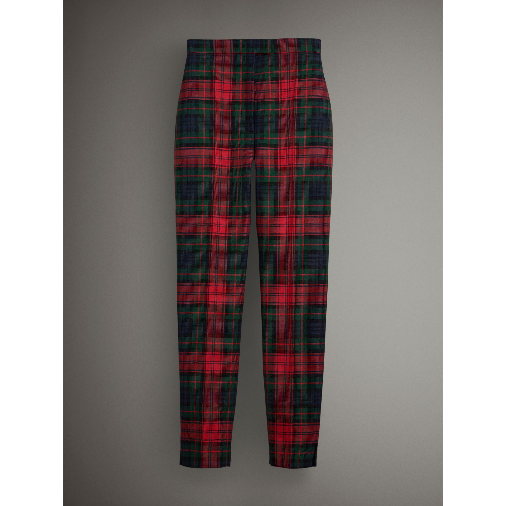 Tartan Wool High-waisted Trousers in Bright Red - Women | Burberry Australia - gallery image 3