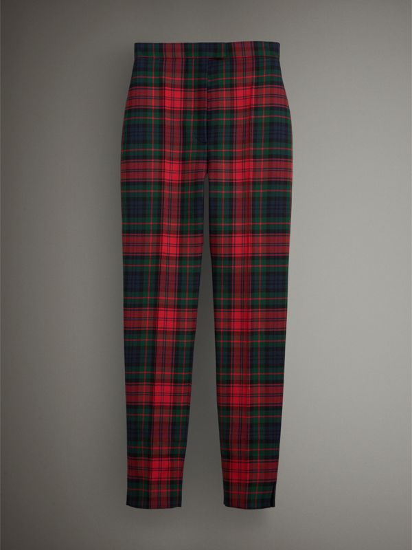 Tartan Wool High-waisted Trousers in Bright Red - Women | Burberry - cell image 3