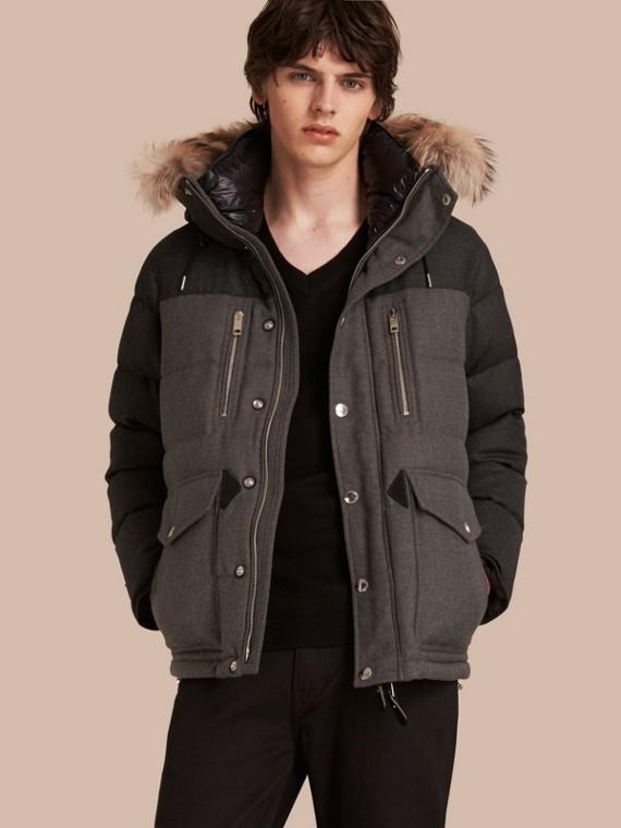 Detachable Fur Trim Down-filled Wool Flannel Jacket