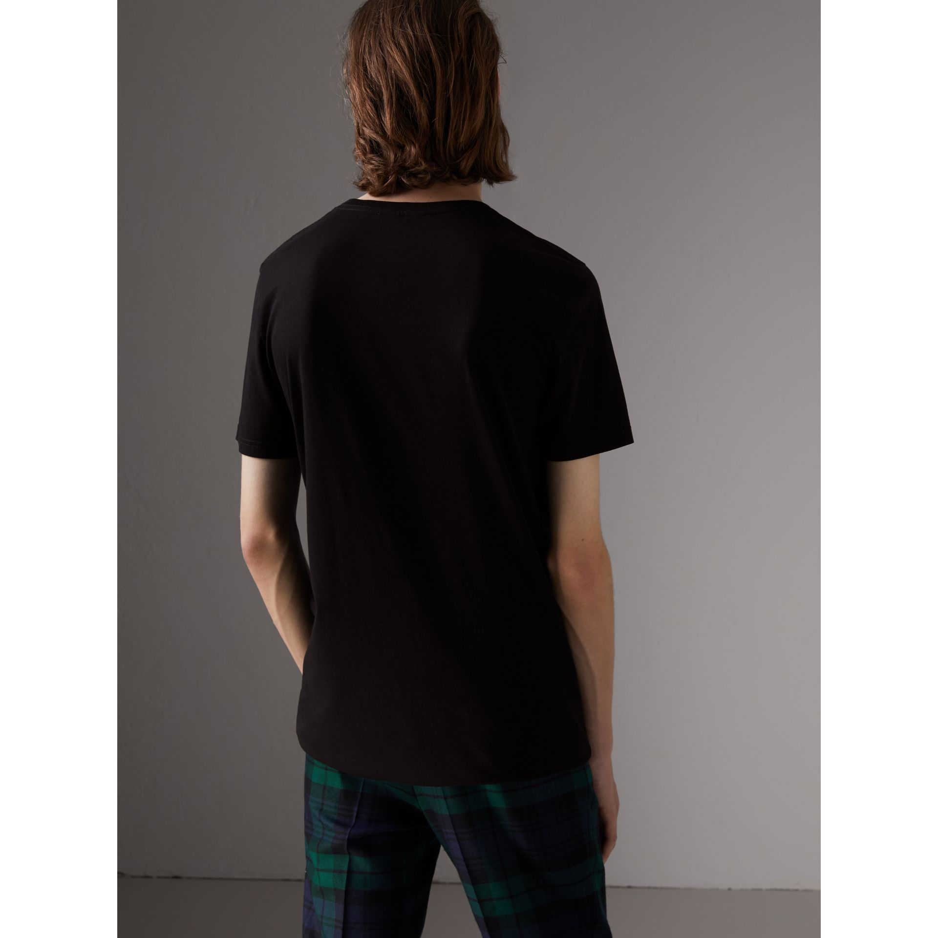Doodle Print Cotton T-Shirt in Black - Men | Burberry - gallery image 2