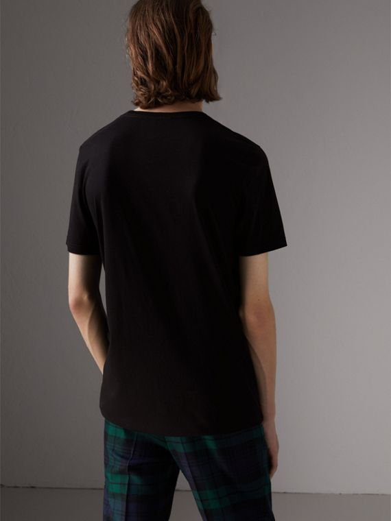 Doodle Print Cotton T-Shirt in Black - Men | Burberry - cell image 2