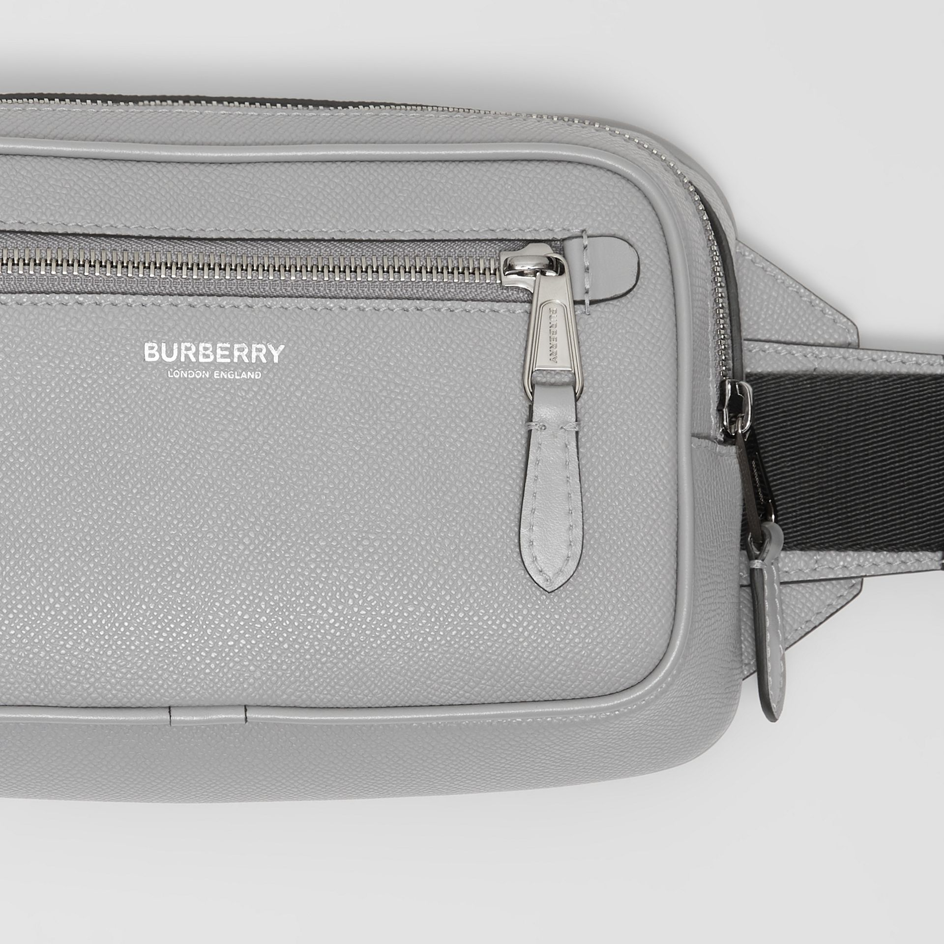 Grainy Leather Bum Bag in Cloud Grey - Men | Burberry United Kingdom - gallery image 1