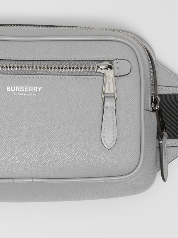 Grainy Leather Bum Bag in Cloud Grey - Men | Burberry United Kingdom - cell image 1