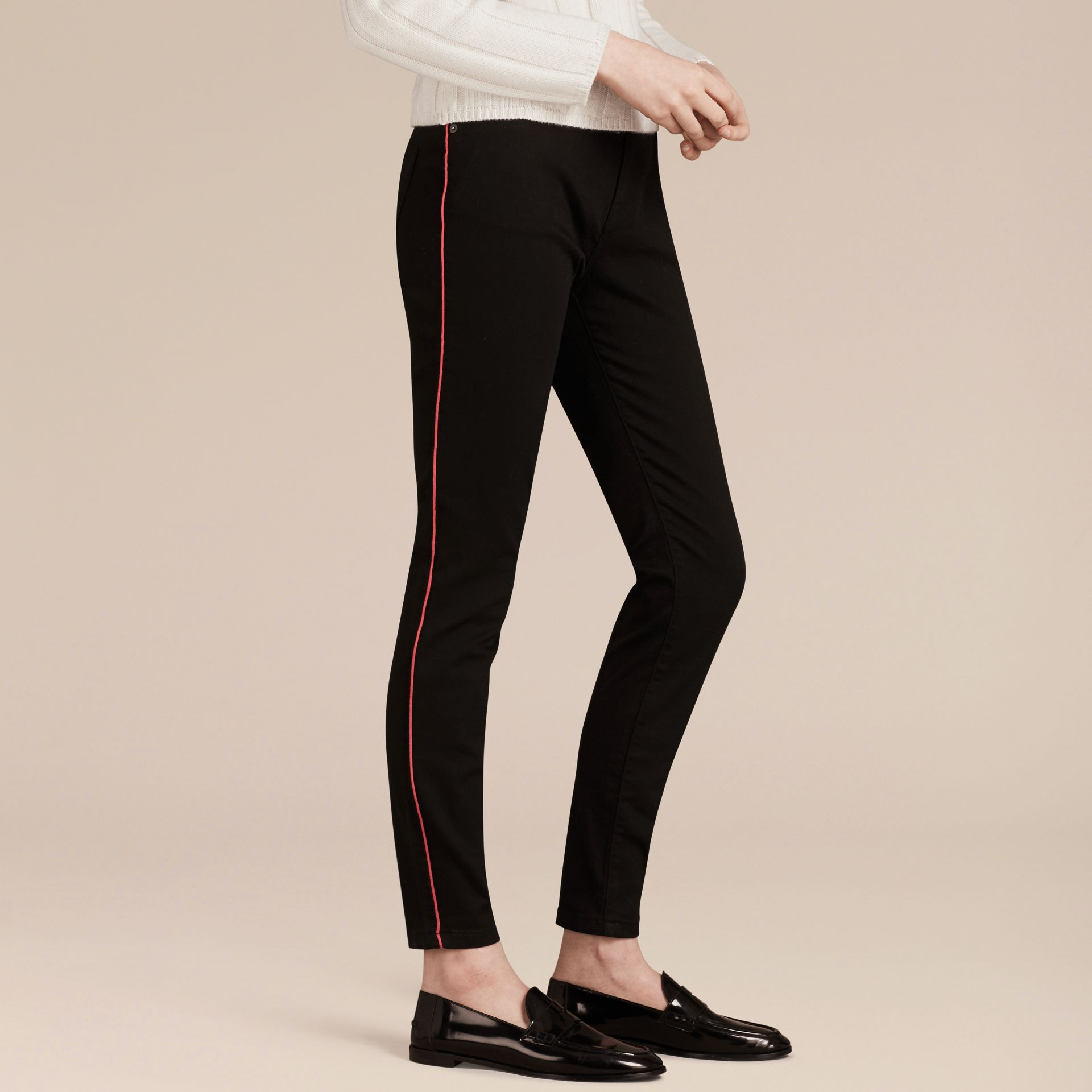 Skinny Fit Stretch Jeans with Piping Detail - gallery image 6