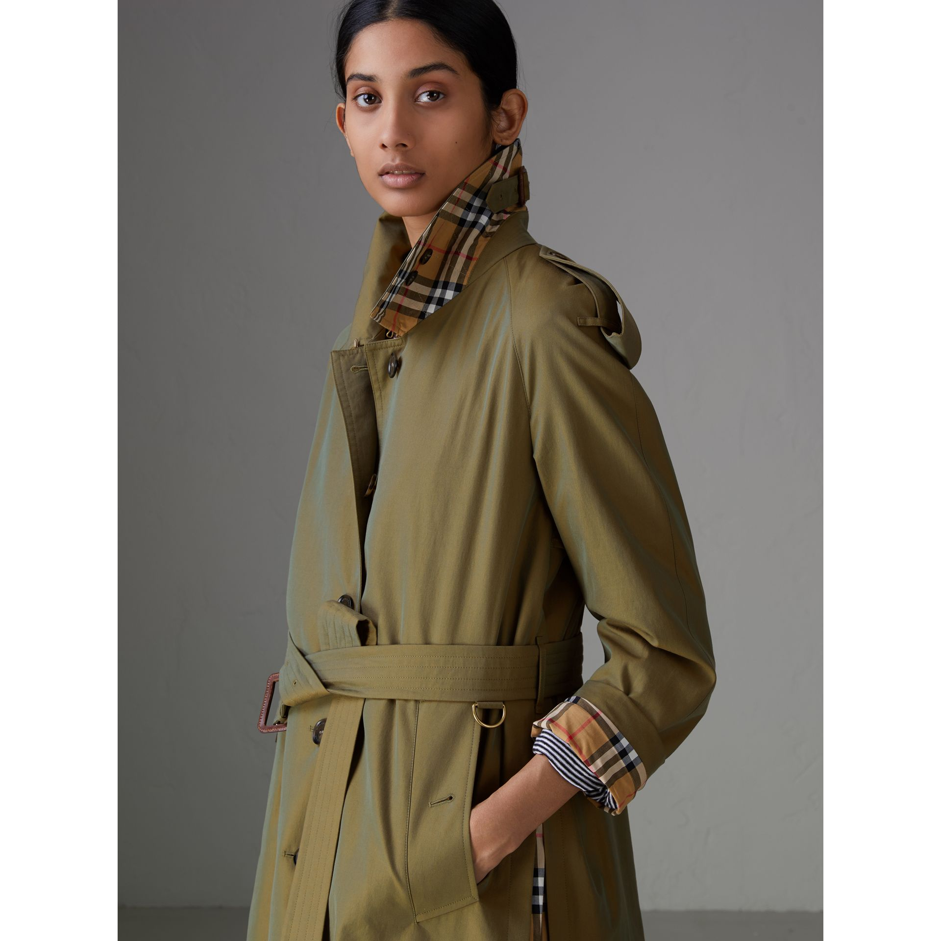 Side-slit Tropical Gabardine Trench Coat in Bright Olive - Women | Burberry - gallery image 1