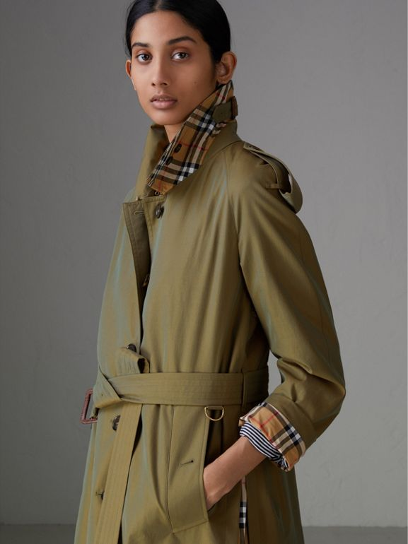 Side-slit Tropical Gabardine Trench Coat in Bright Olive - Women | Burberry Australia - cell image 1