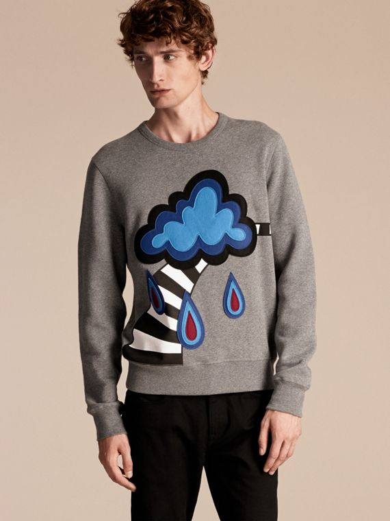 Weather Appliqué Detail Cotton Jersey Sweatshirt
