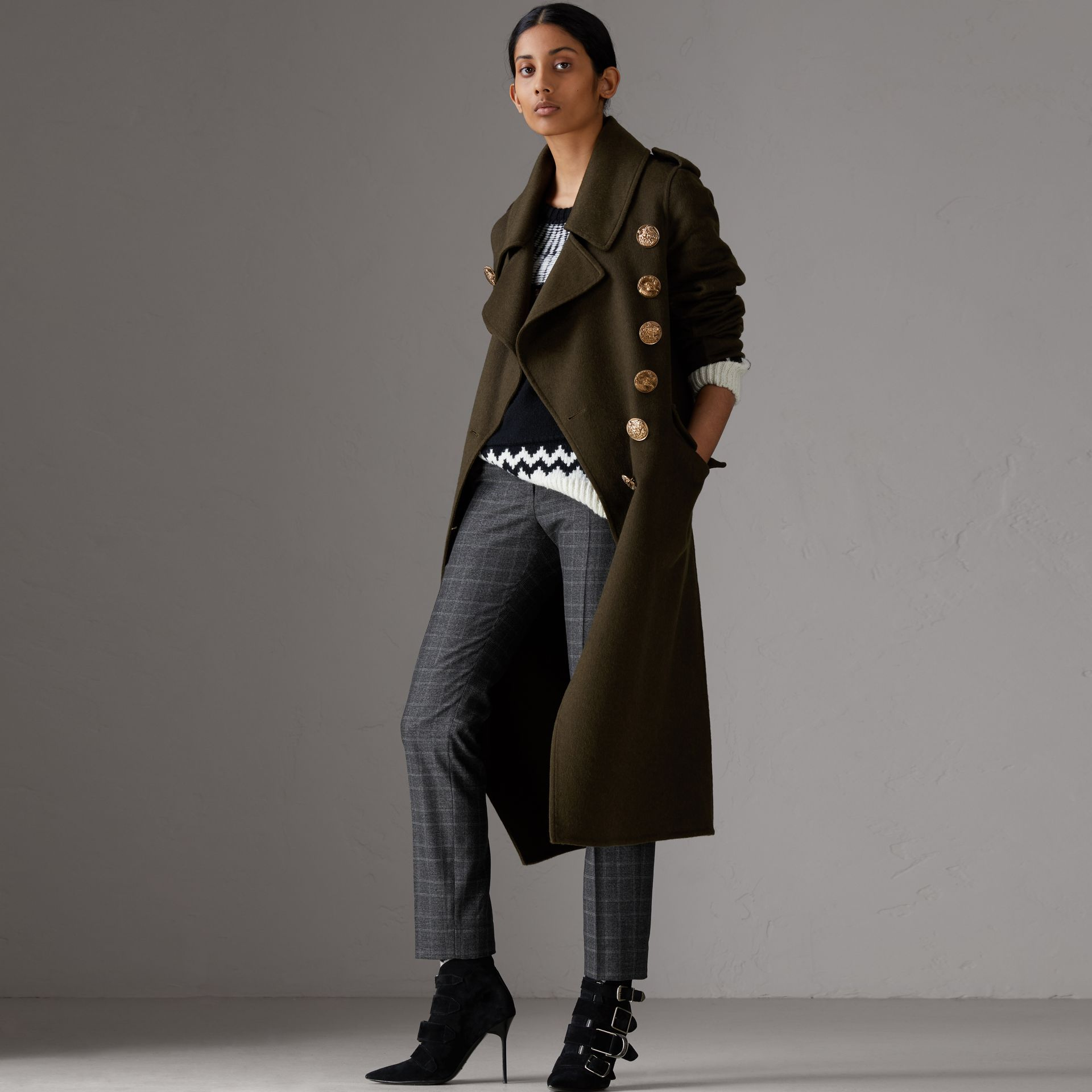 Prince of Wales Check Wool Blend Trousers in Dark Grey - Women | Burberry Canada - gallery image 0