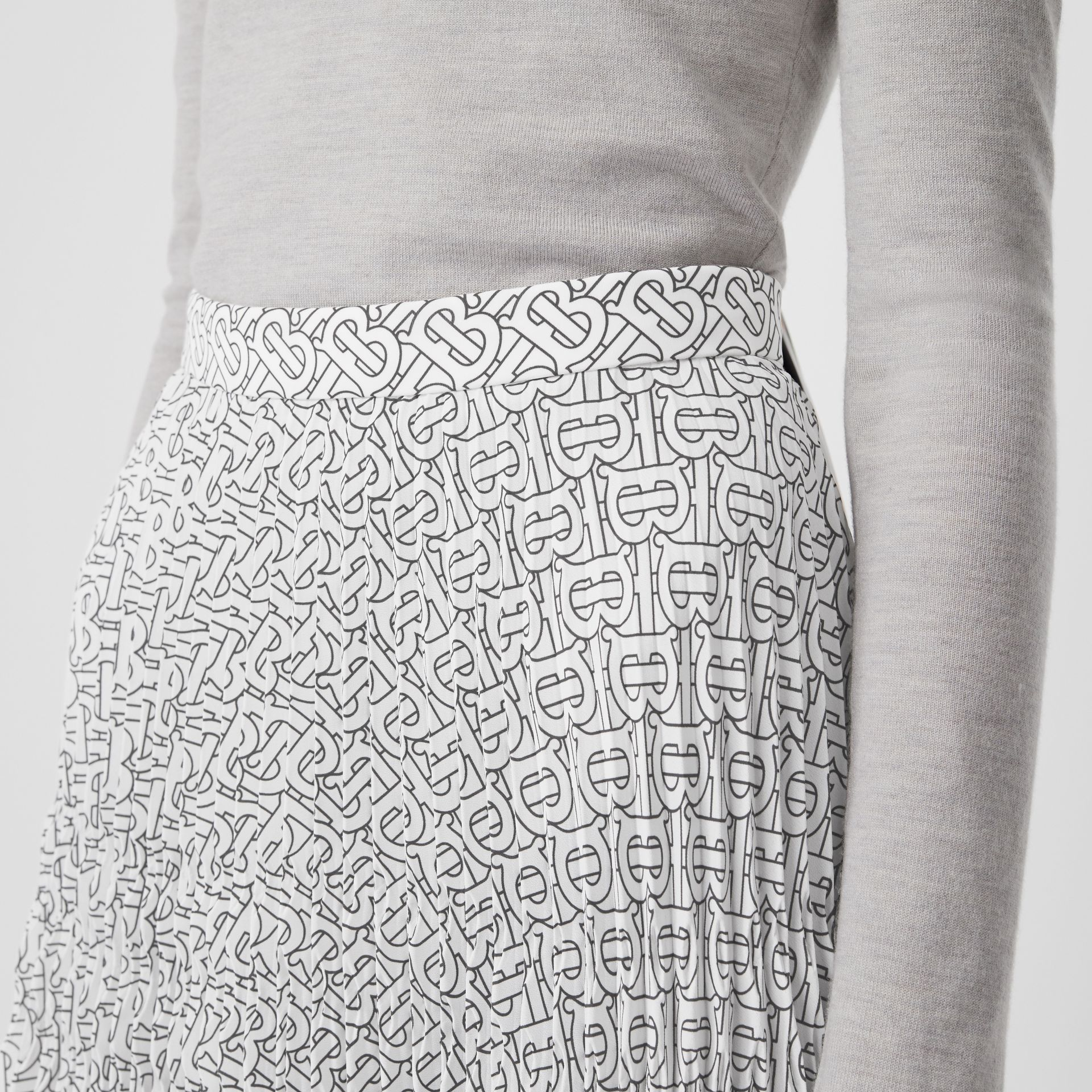 Monogram Print Crepe De Chine Pleated Skirt in White/black - Women | Burberry Australia - gallery image 1