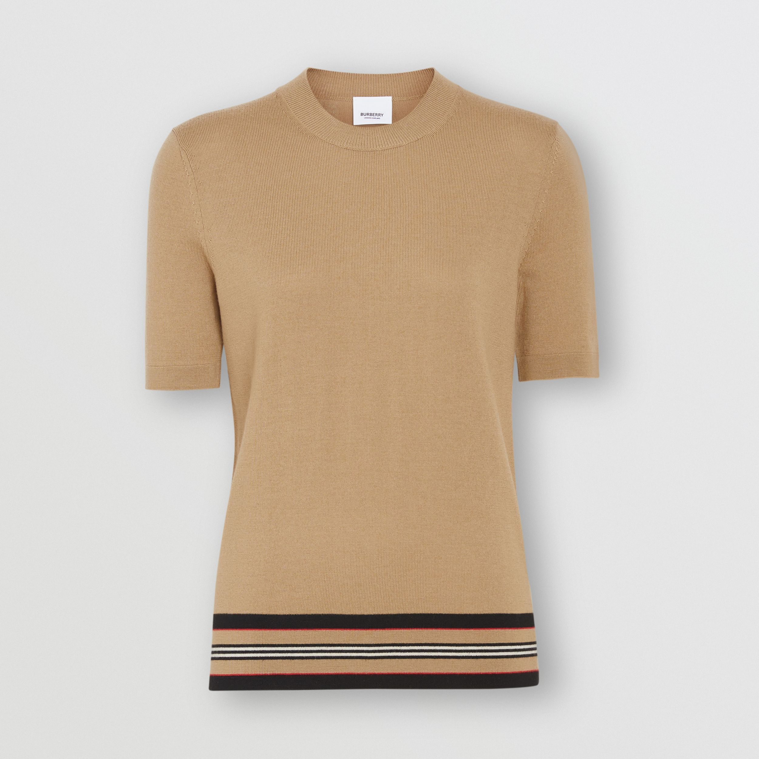Short-sleeve Icon Stripe Detail Merino Wool Top in Camel - Women | Burberry - 4