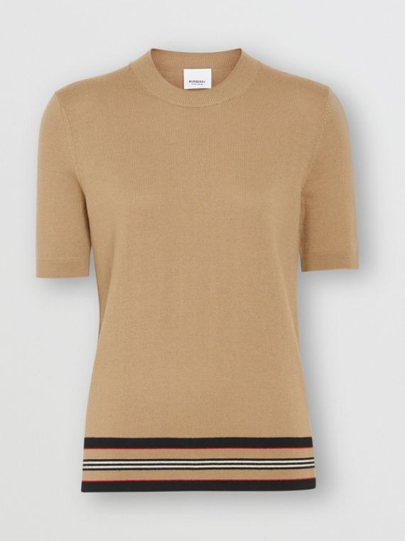 Short-sleeve Icon Stripe Detail Merino Wool Top in Camel