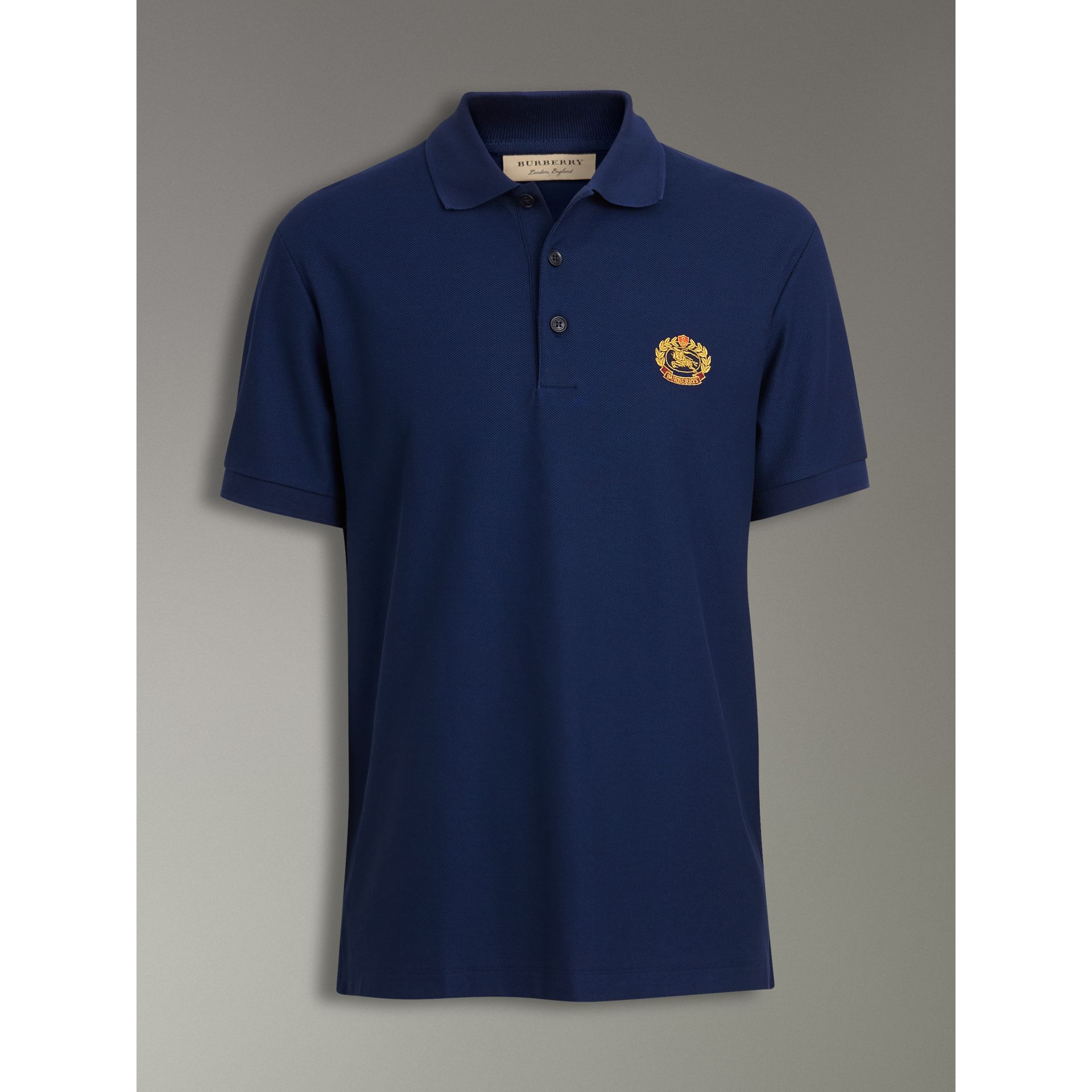 Archive Logo Cotton Piqué Polo Shirt in Navy - Men | Burberry - gallery image 3