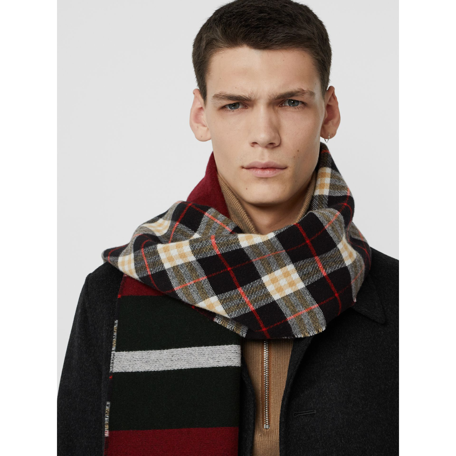 Reversible Stripe and Check Wool Cashmere Scarf in Black | Burberry United States - gallery image 6