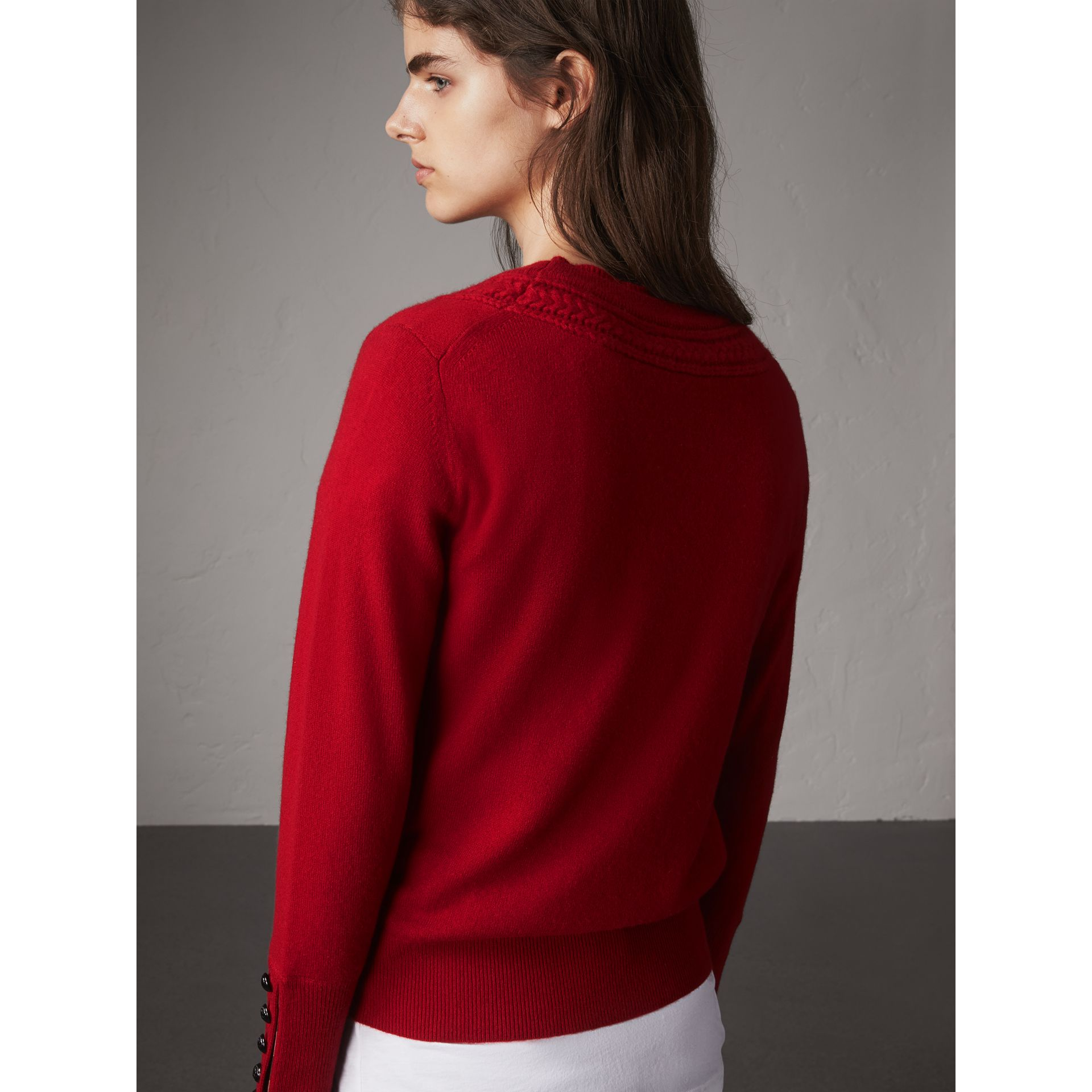 Cable Knit Yoke Cashmere Sweater in Military Red - Women | Burberry - gallery image 3