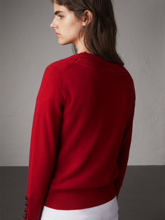 Cable Knit Yoke Cashmere Sweater in Military Red - Women | Burberry - cell image 2
