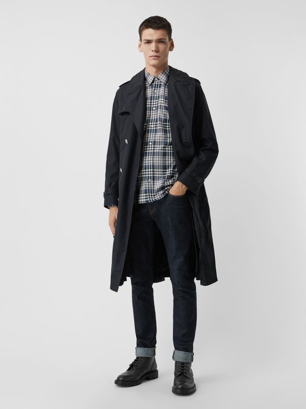 Check Cotton Shirt in Pewter Blue - Men | Burberry Singapore - cell image 3
