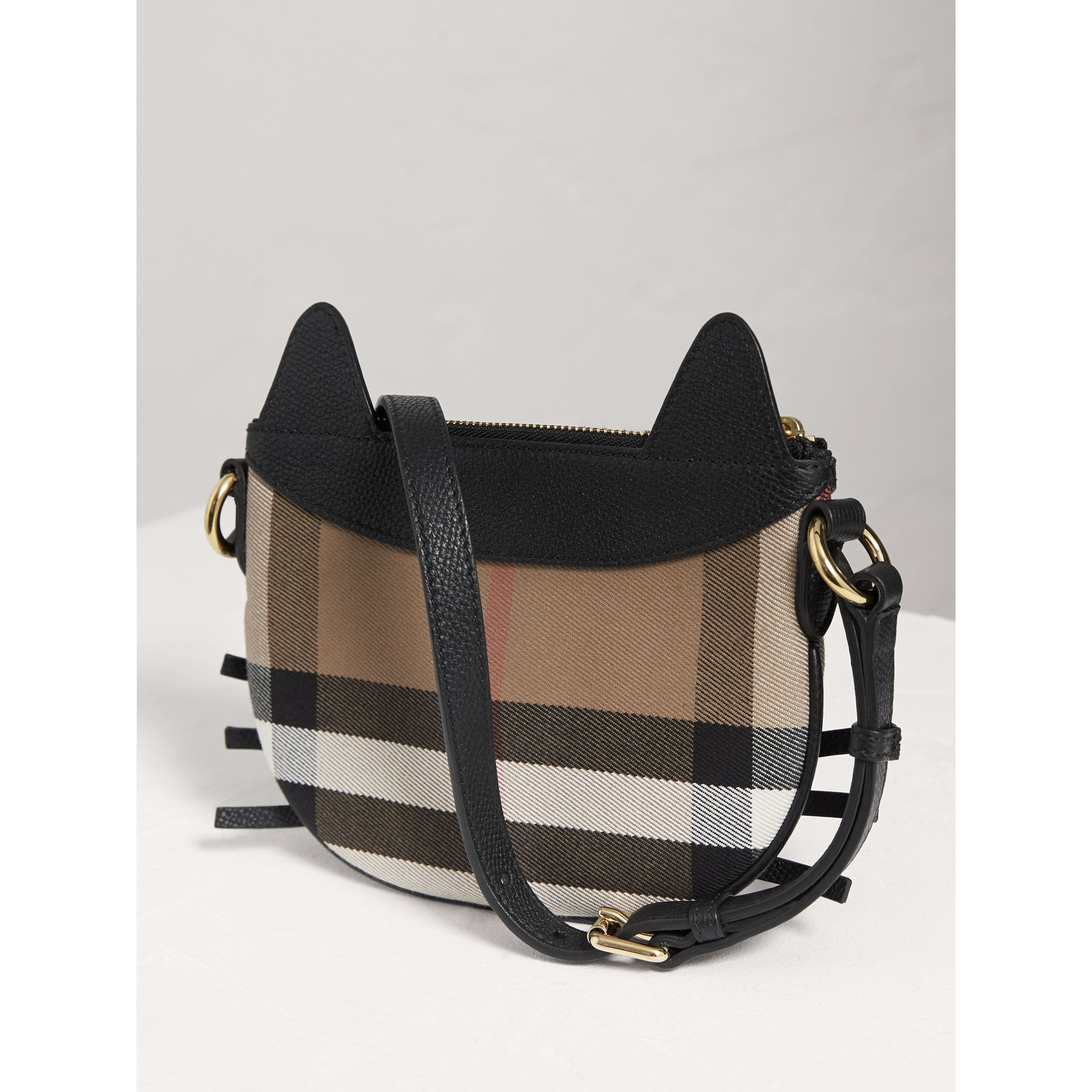 Cat Motif Leather and House Check Crossbody Bag in Black - Girl | Burberry Australia - gallery image 2