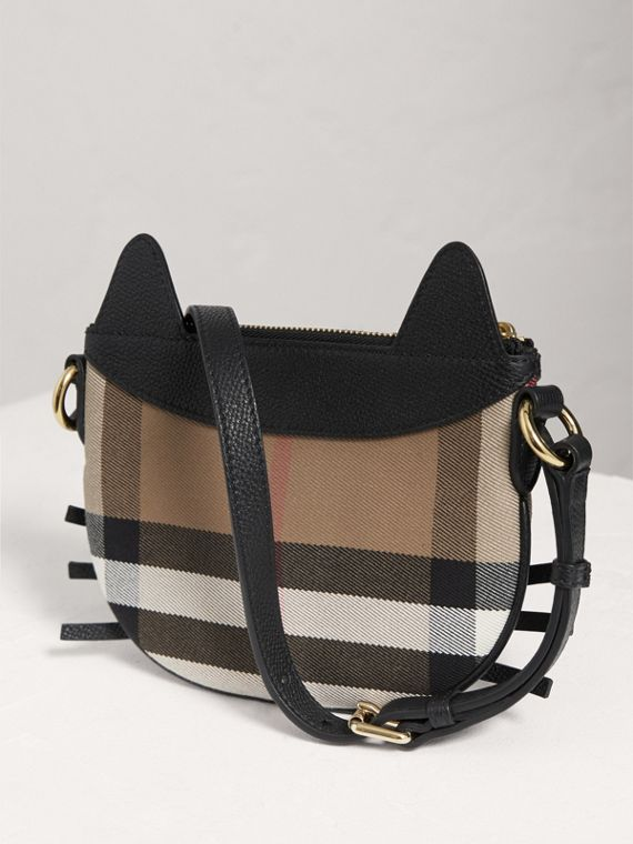 Cat Motif Leather and House Check Crossbody Bag in Black - Girl | Burberry Singapore - cell image 2