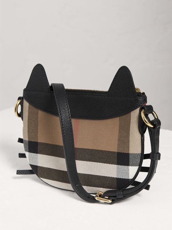 Cat Motif Leather and House Check Crossbody Bag in Black | Burberry - cell image 2