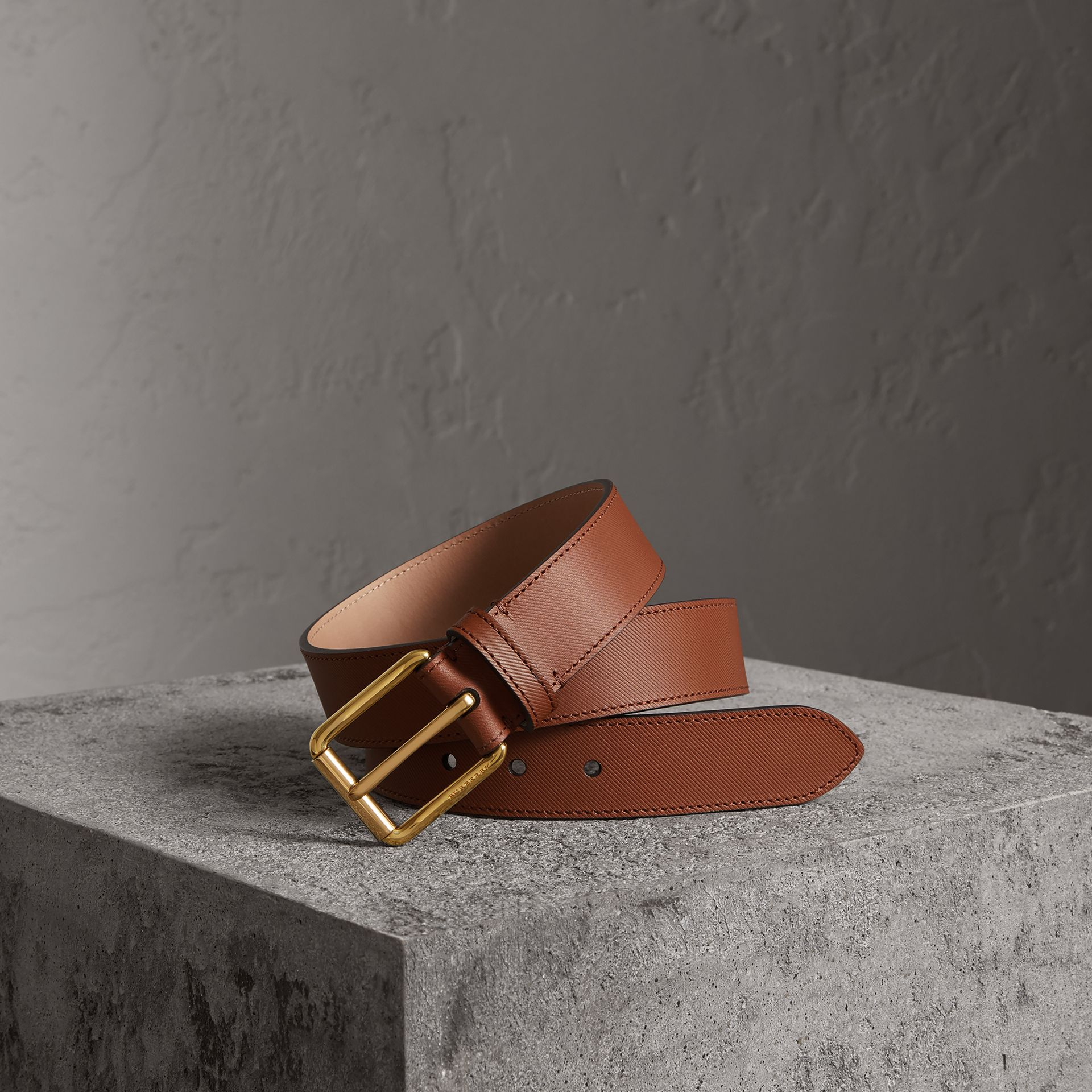 Trench Leather Belt in Tan - Men | Burberry United Kingdom - gallery image 0