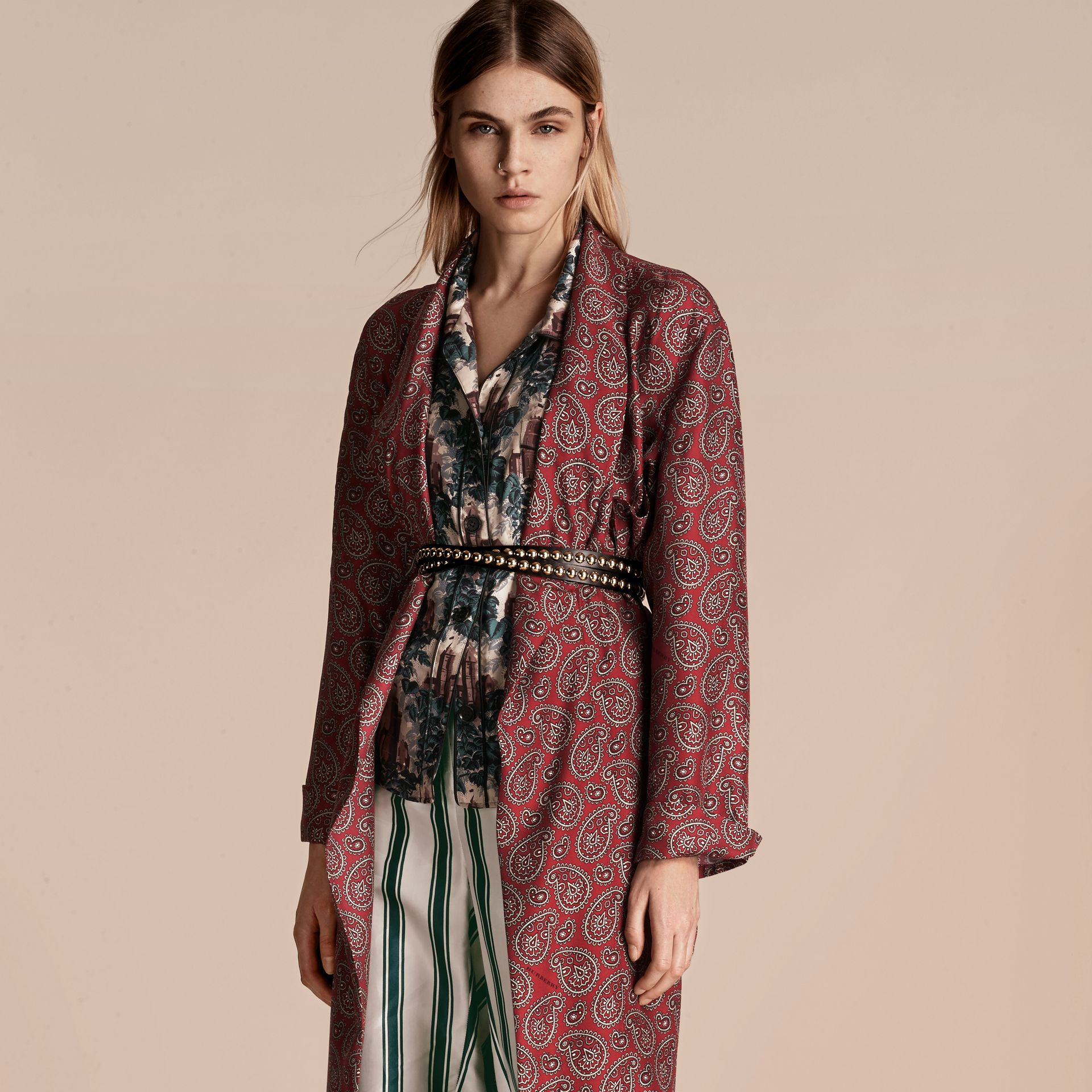 Berry red Paisley Print Panama Silk Dressing Gown Coat - gallery image 6