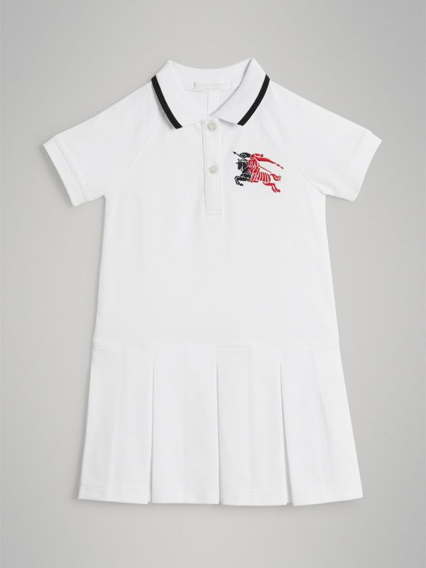 Tape Detail Polo Dress in White - Children | Burberry - cell image 2