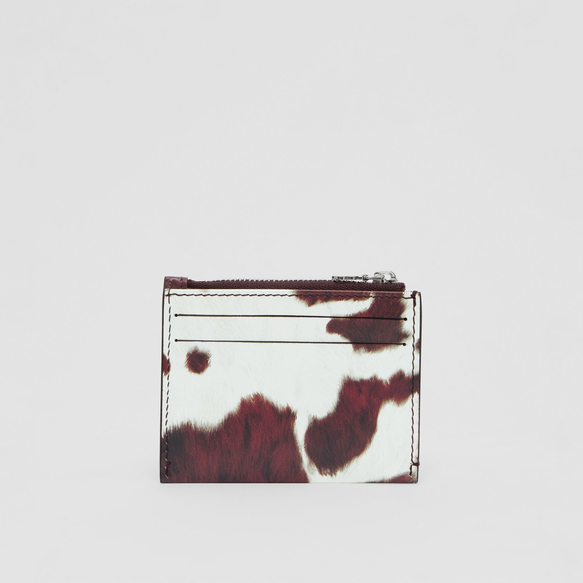 Cow Print Leather Zip Card Case in Mahogany - Women | Burberry - gallery image 5