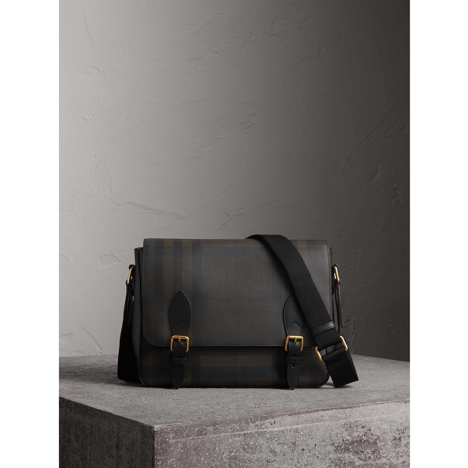 Medium Leather Trim London Check Messenger Bag in Chocolate/black - Men | Burberry - gallery image 1