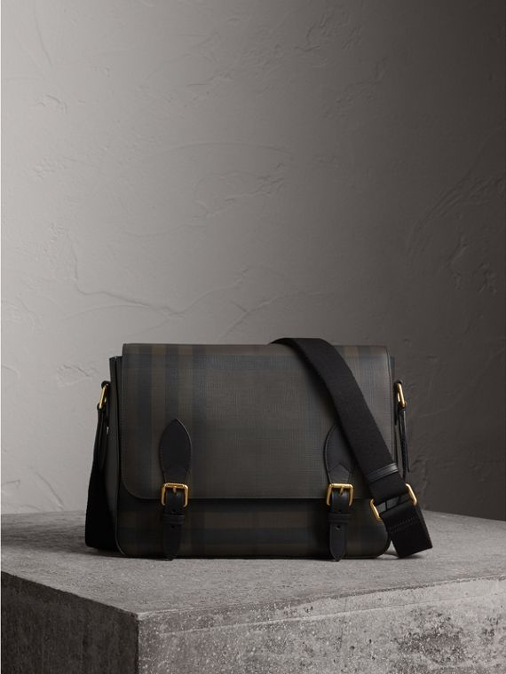 Medium Leather Trim London Check Messenger Bag in Chocolate/black - Men | Burberry Hong Kong