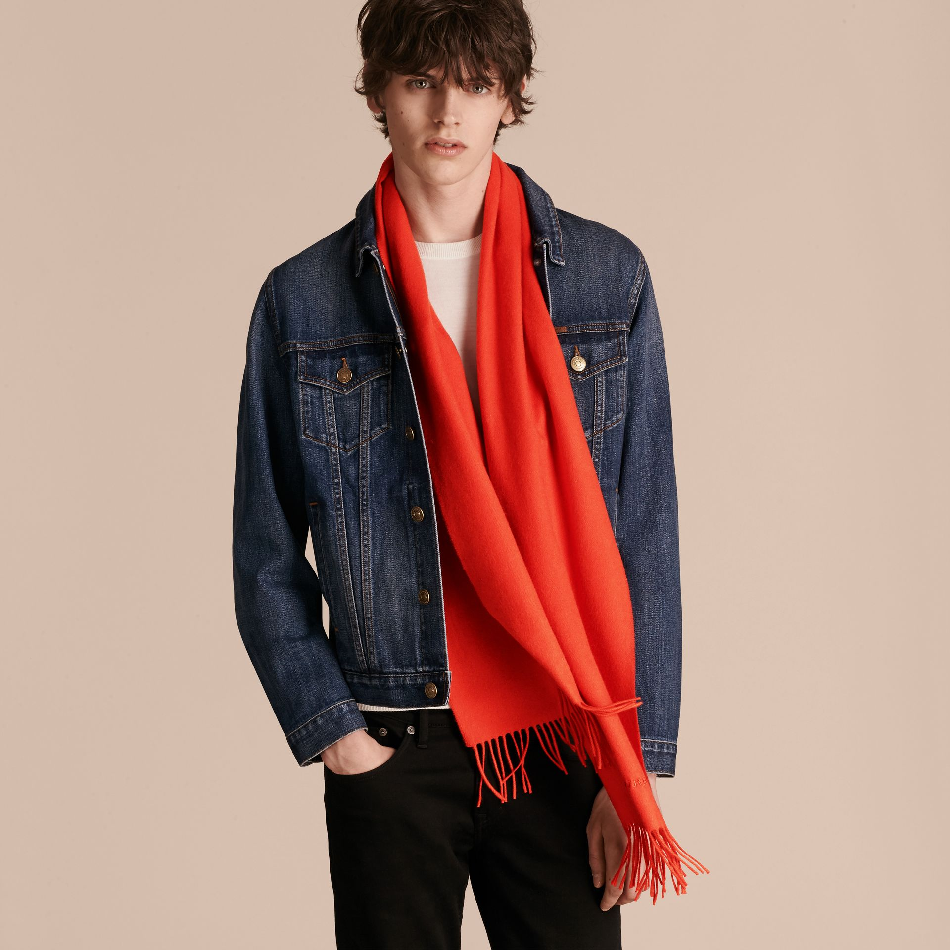 The Classic Cashmere Scarf in Bright Orange Red | Burberry - gallery image 4