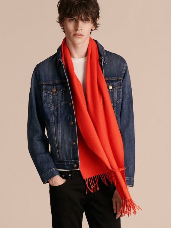 The Classic Cashmere Scarf in Bright Orange Red | Burberry - cell image 3