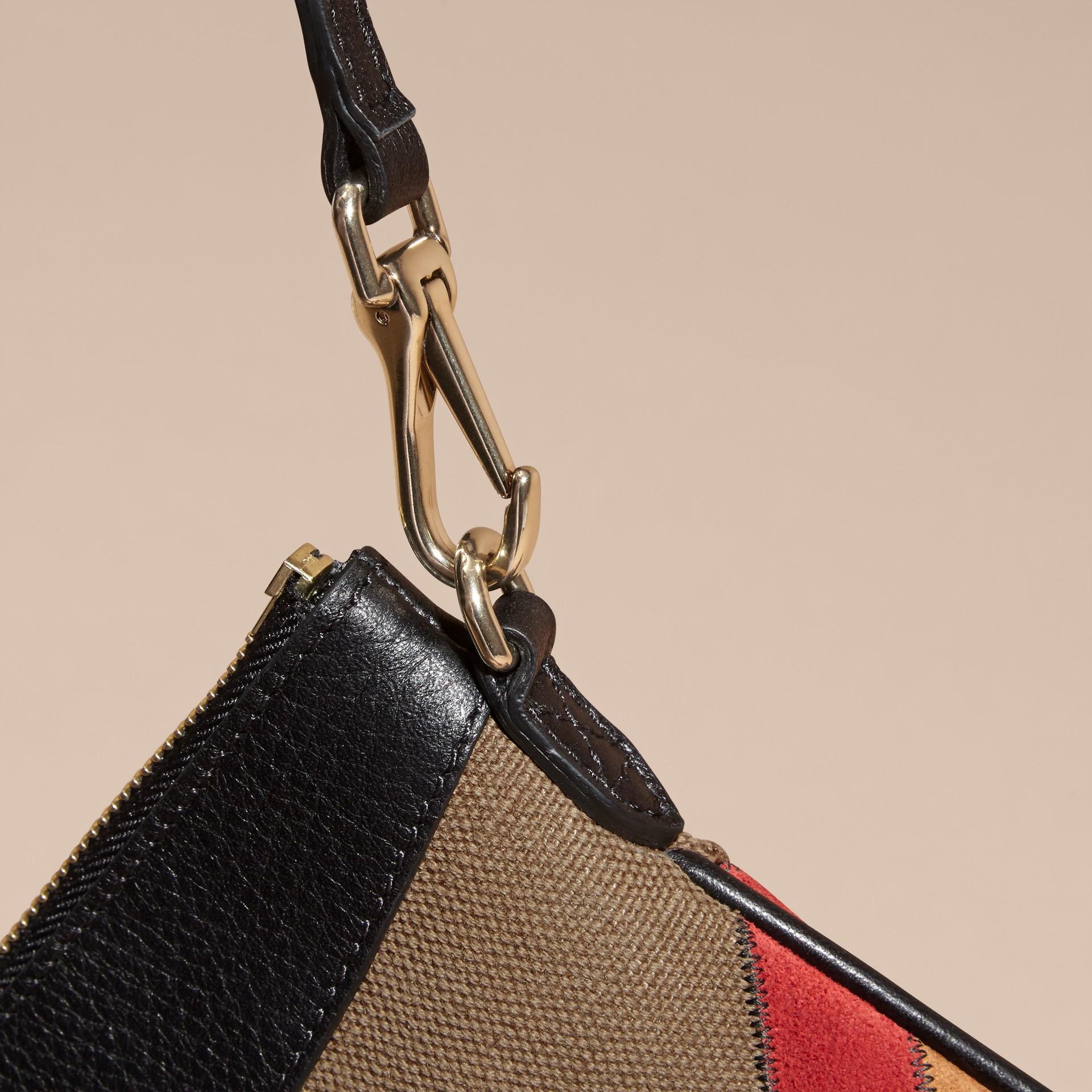Noir Clutch façon patchwork en cuir, cuir velours et jute de coton à motif check - photo de la galerie 7