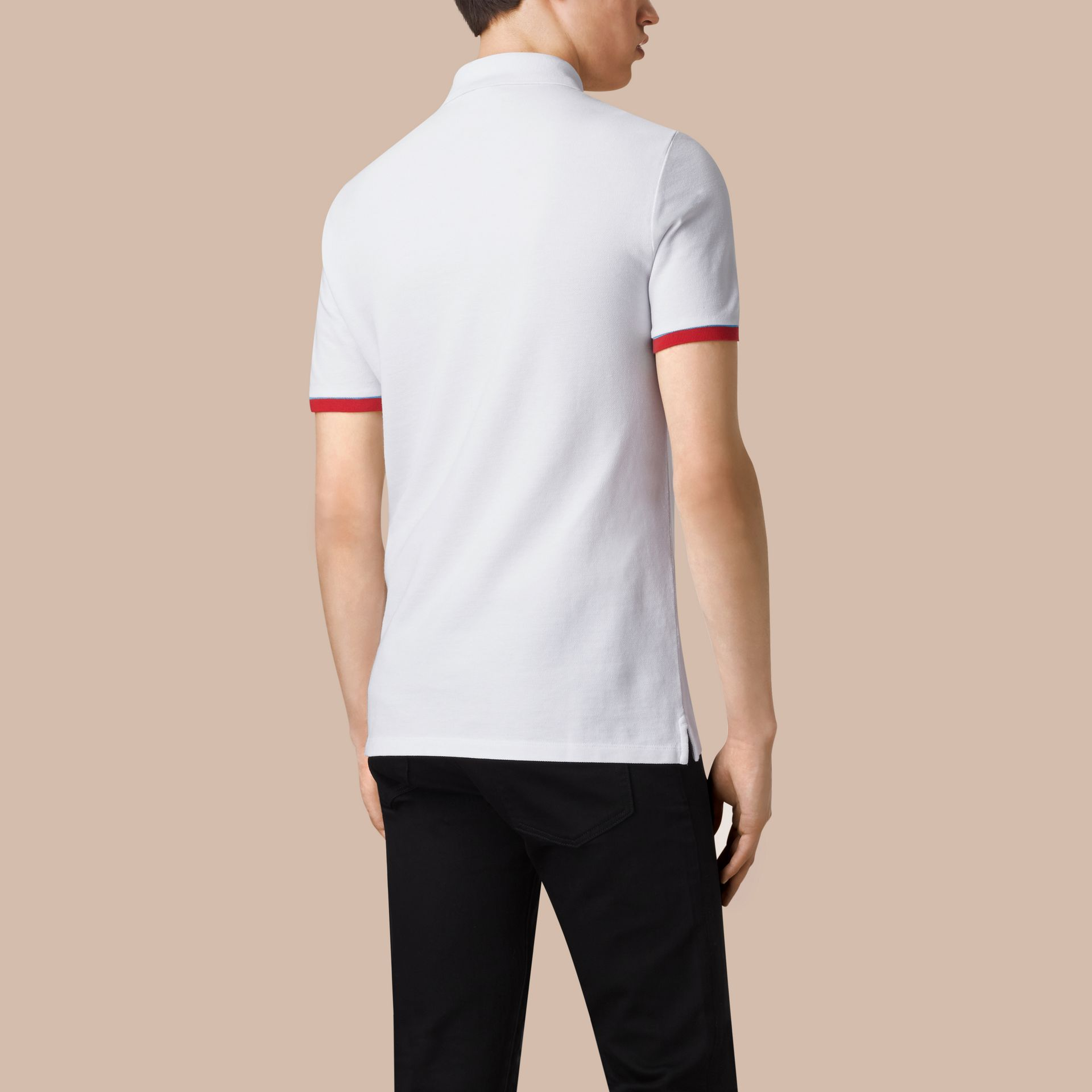 White Contrast Cuff Cotton Piqué Polo Shirt White - gallery image 2