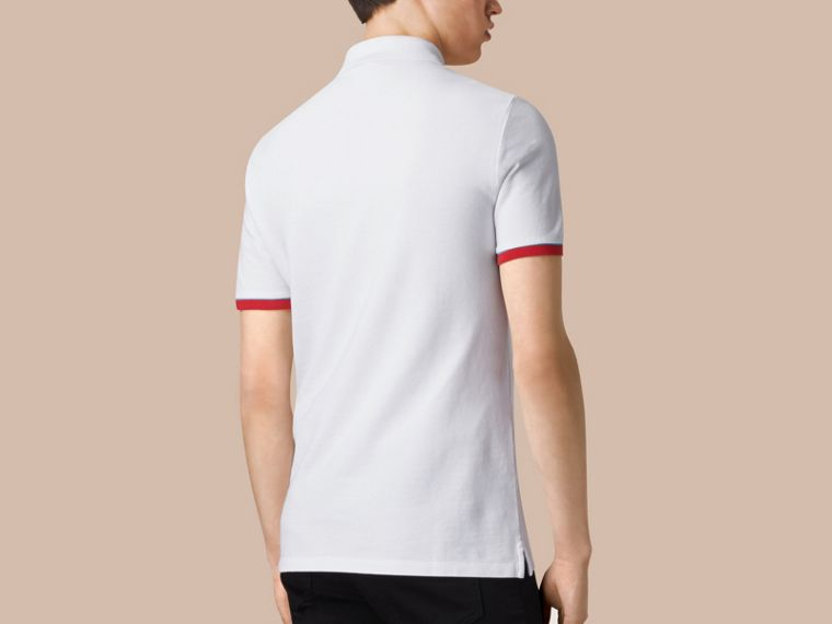 White Contrast Cuff Cotton Piqué Polo Shirt White - cell image 1