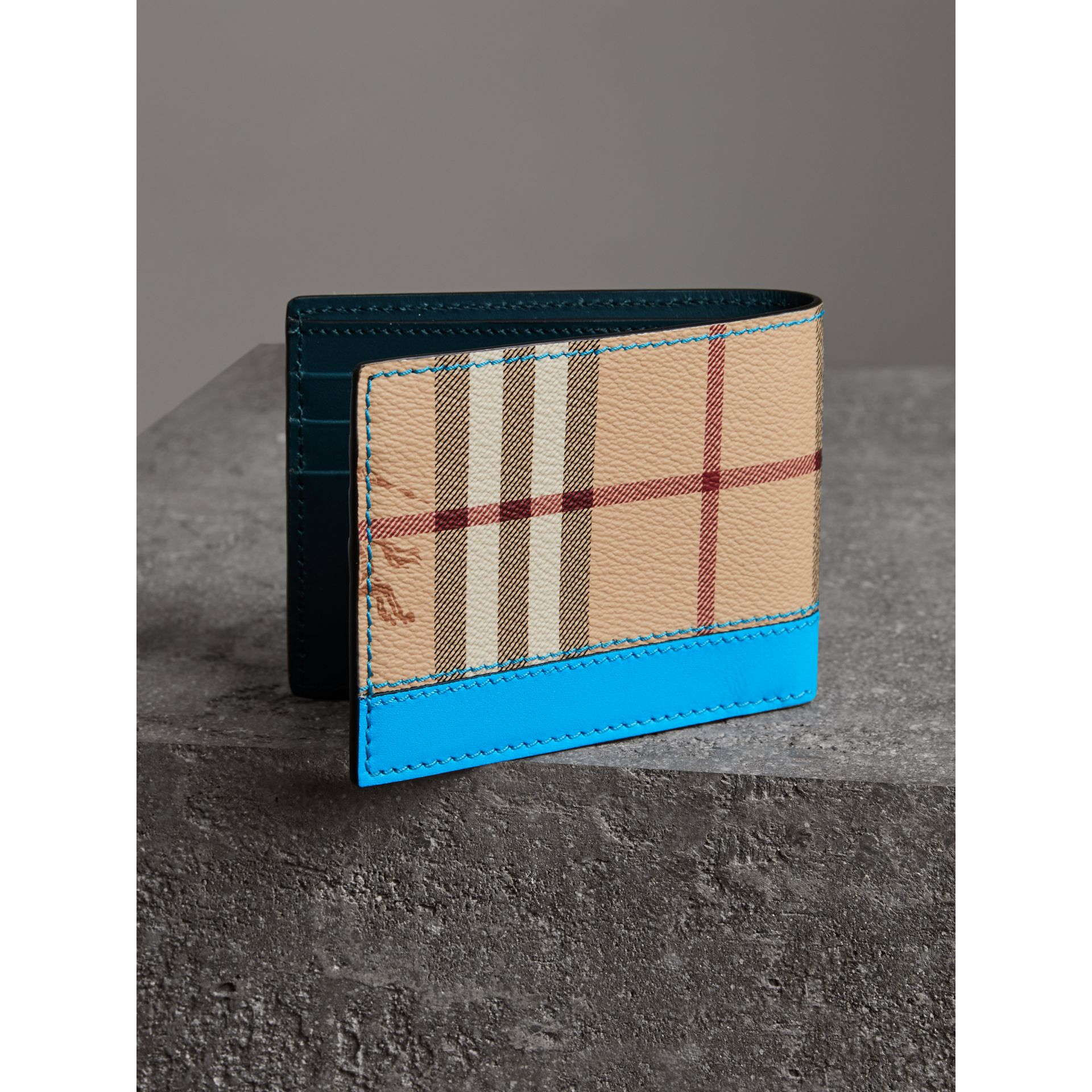Haymarket Check and Leather Bifold Wallet in Bright Blue - Men   Burberry United States - gallery image 2