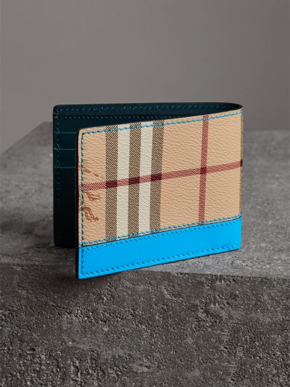 Haymarket Check and Leather Bifold Wallet in Bright Blue - Men   Burberry United States - cell image 2