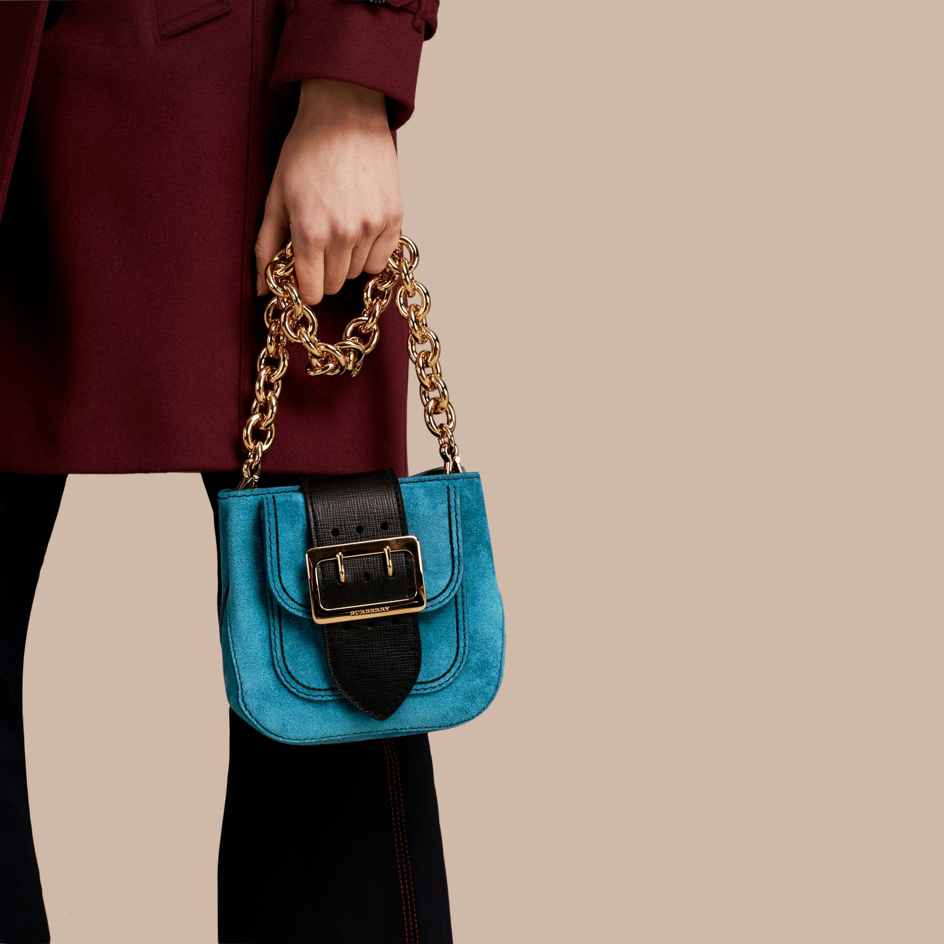 Peacock blue The Small Square Buckle Bag in Suede and Leather Peacock Blue - gallery image 3