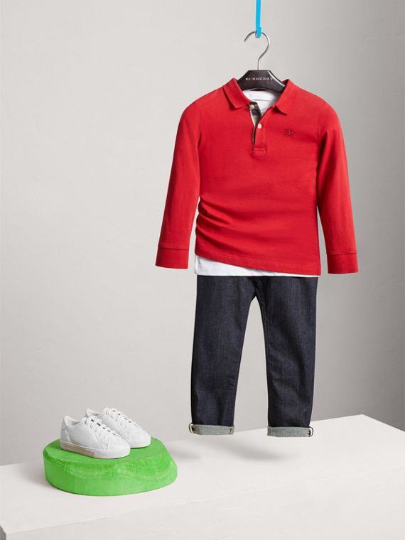 Long-sleeve Cotton Jersey Polo Shirt in Military Red - Boy | Burberry United Kingdom - cell image 2