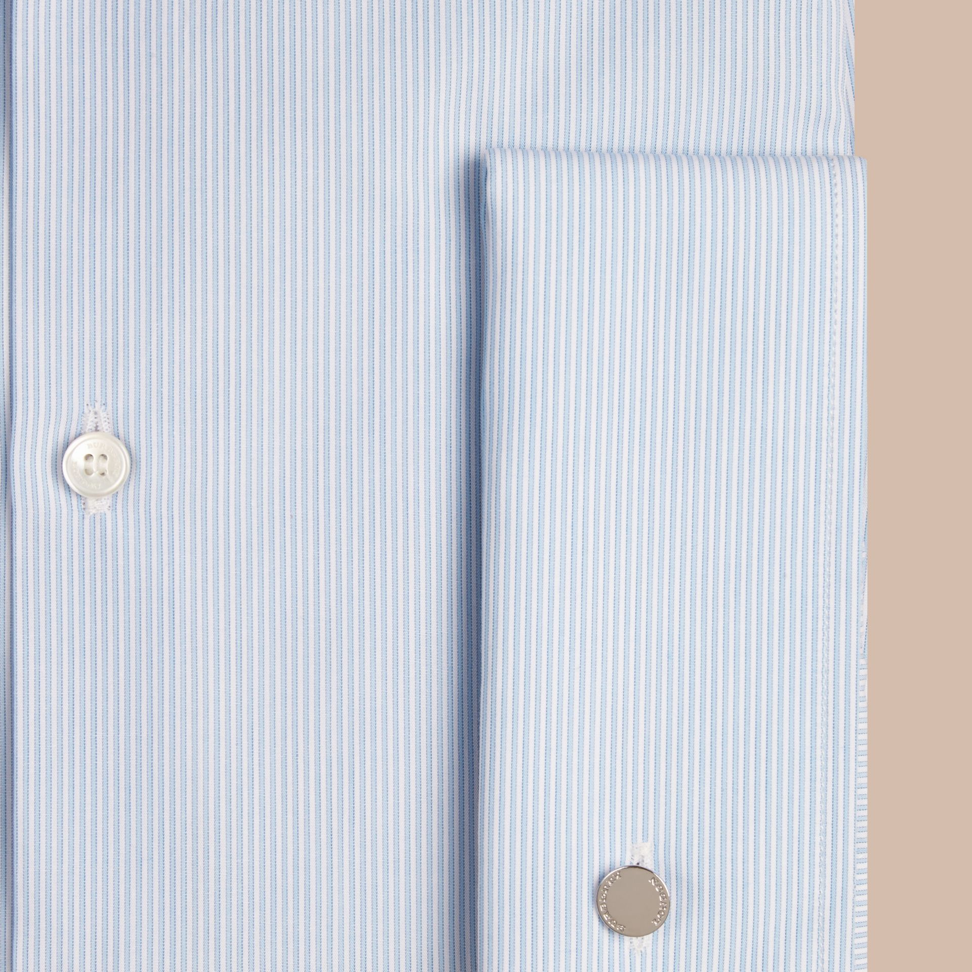 City blue Modern Double-cuff Striped Cotton Poplin Shirt - gallery image 2