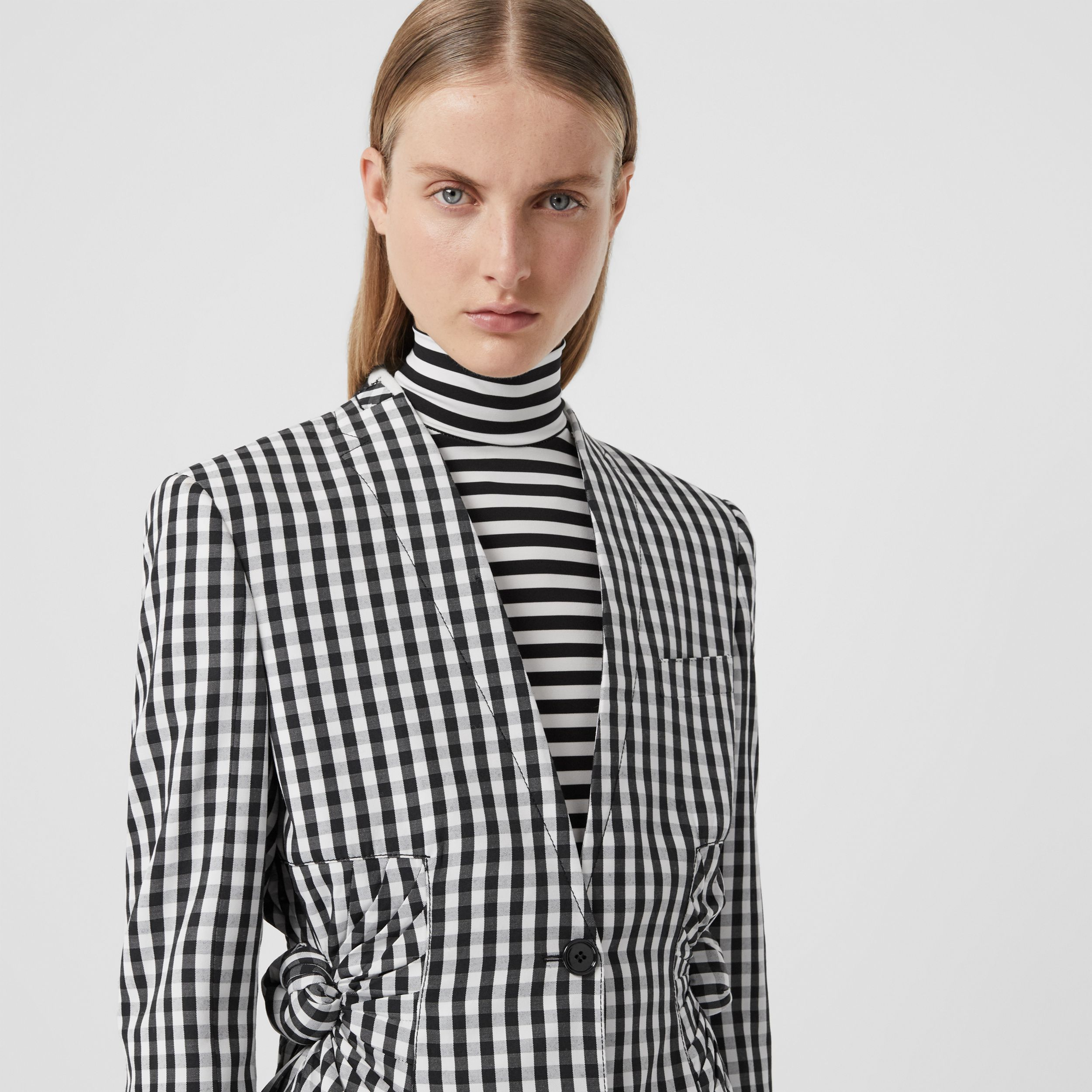 Gingham Technical Wool Blazer in Black - Women | Burberry - 2