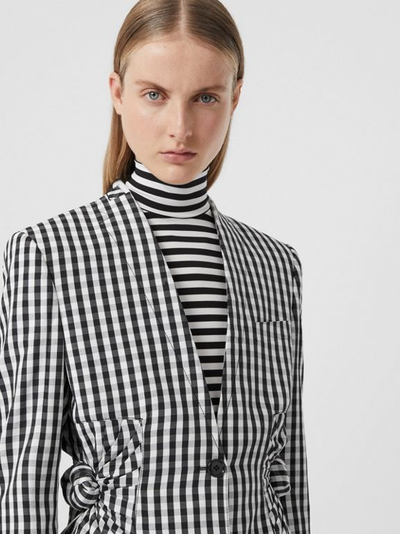 Gingham Technical Wool Blazer in Black - Women | Burberry - cell image 1