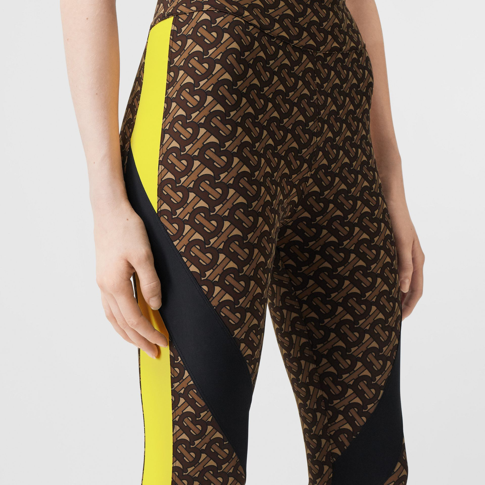 Colour Block Monogram Print Stretch Jersey Leggings in Bridle Brown - Women | Burberry United Kingdom - gallery image 1