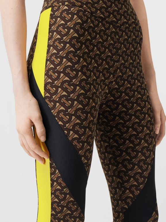 Colour Block Monogram Print Stretch Jersey Leggings in Bridle Brown - Women | Burberry United Kingdom - cell image 1
