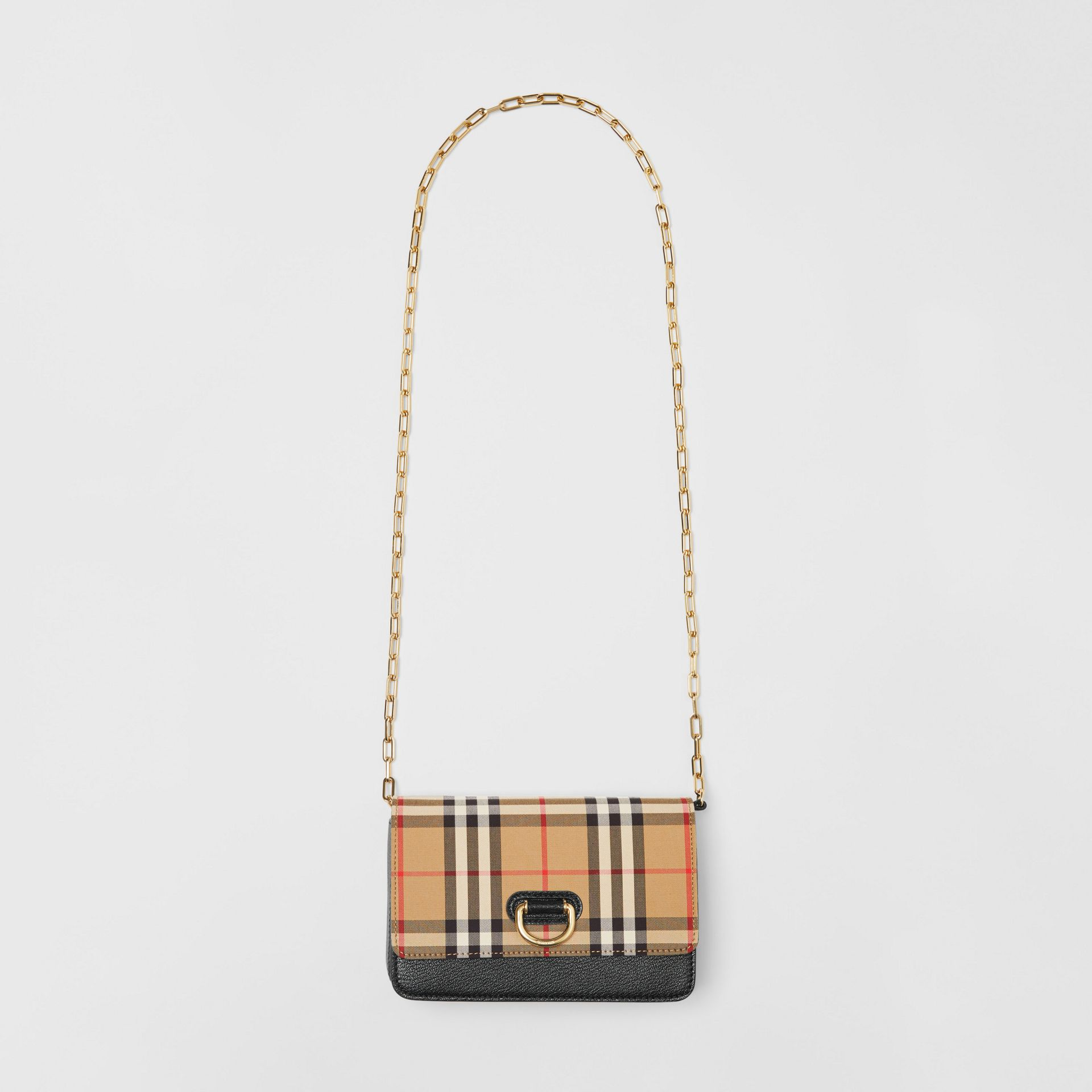 The Mini Vintage Check and Leather D-ring Bag in Black - Women | Burberry United States - gallery image 3