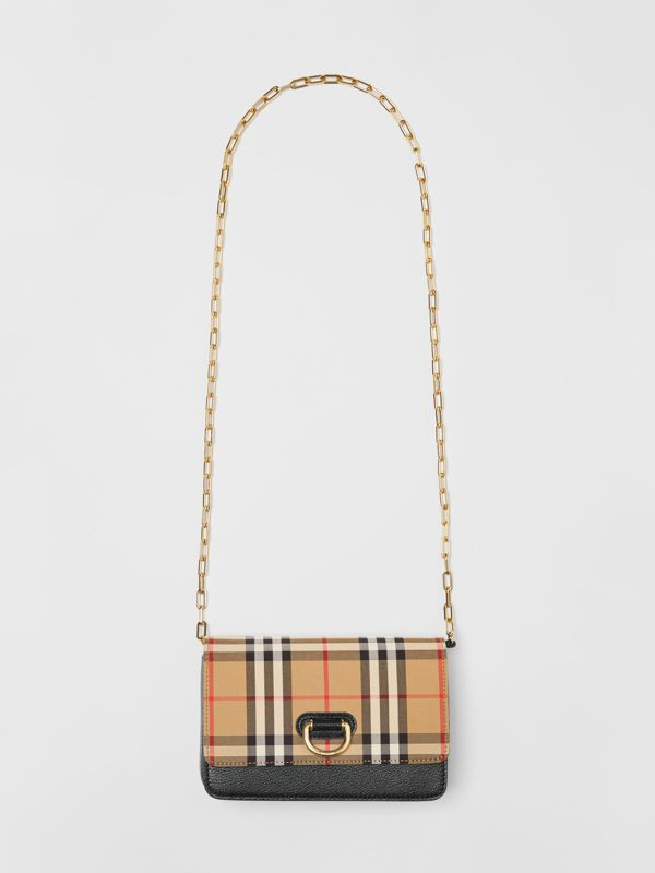 The Mini Vintage Check and Leather D-ring Bag in Black - Women | Burberry United States - cell image 3